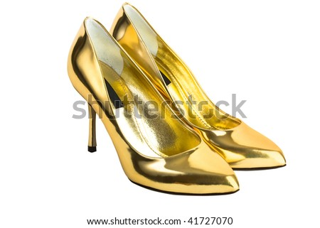Gold women high heel shoes - stock photo
