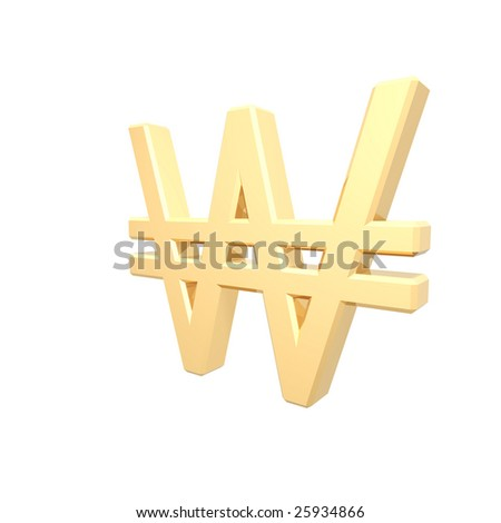 Gold Won sign isolated on white. Computer generated 3D photo rendering. - stock photo