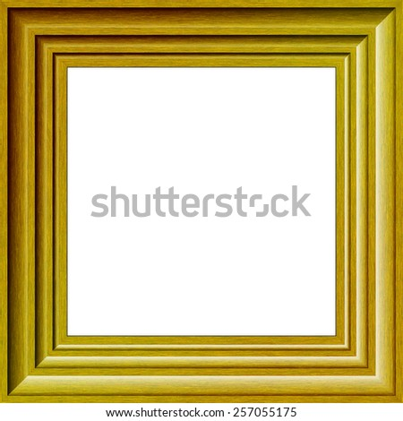 Gold Wood Effect Photograph Frame Isolated on White - stock photo