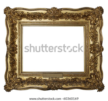 "Gold wooden frame (From my ""Frames collection"") - stock photo"