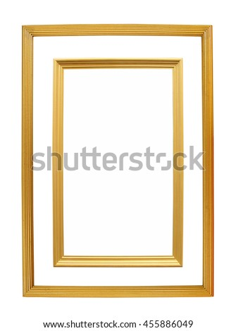 Gold wooden Frame Isolated On White Background - stock photo