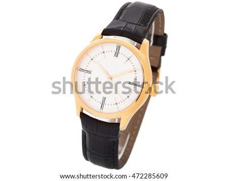 Gold Wrist watch with black thong on a white background, nobody.