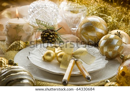 gold xmas table - stock photo