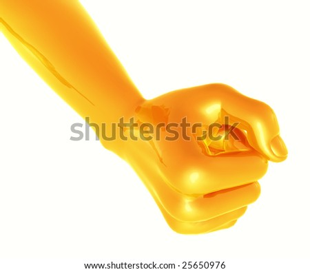 Gold yellow fist indication strong business spirit - stock photo