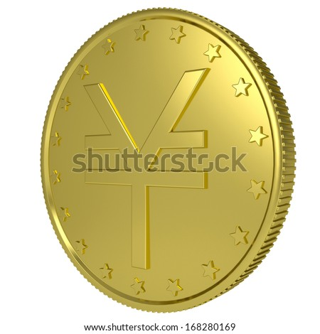 Gold yen. Isolated render on a white background