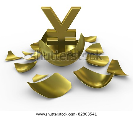 Gold yen sign hatched from eggs of gold - stock photo