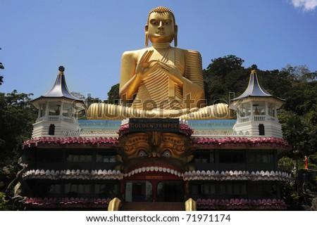 Goldem Temple in Bandulla, Sri Lanka - stock photo