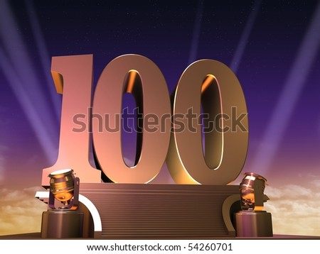 golden 100 - stock photo