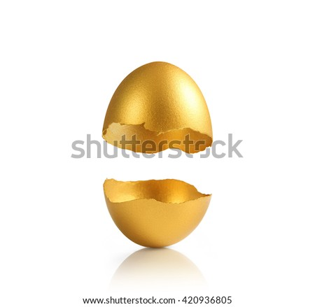 golden a easter egg isolated - stock photo