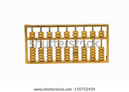 Golden abacus on white background - stock photo