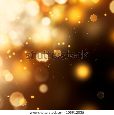 Golden Abstract Bokeh Background. Gold Dust over Black - stock photo