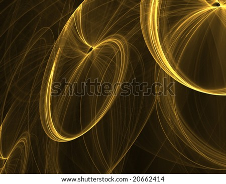 Golden abstract flames on black background.