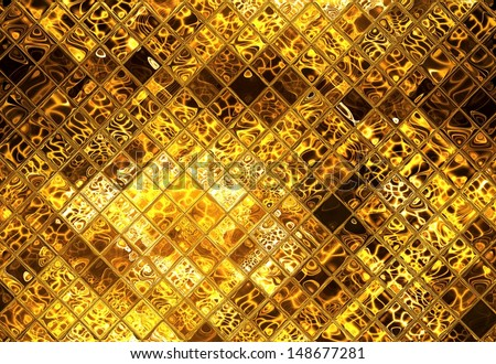 Golden abstract mosaic  - stock photo