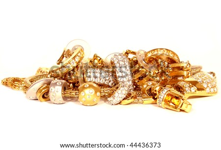 golden accessories isolated - stock photo