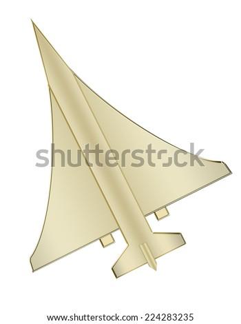 Golden Airplane  - stock photo