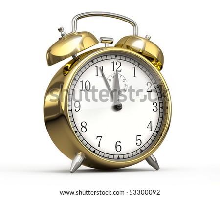 Golden alarm clock - stock photo