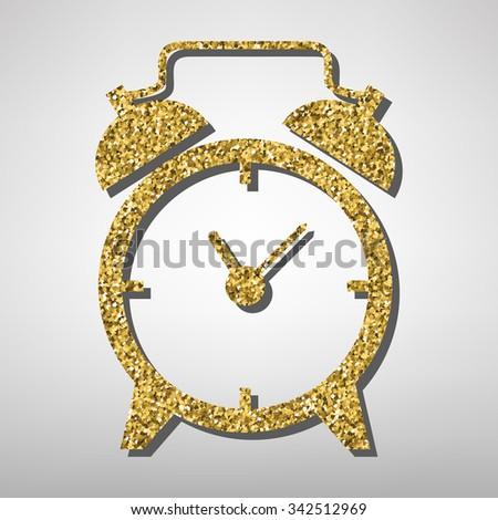 Golden alarm clock icon - stock photo