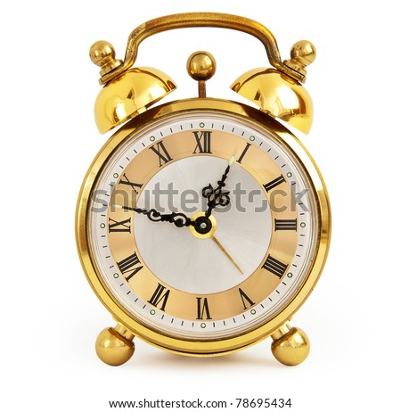 Golden alarm clock isolated on white background