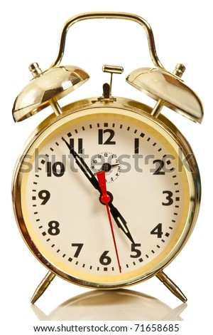 Golden alarm clock - isolated over a white background - stock photo