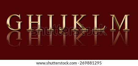 """Golden alphabet from """" G"""" to """"M"""" on a red background - stock photo"""