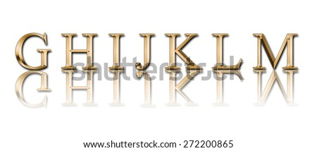 """Golden alphabet from """" G"""" to """"M"""" on a white background - stock photo"""