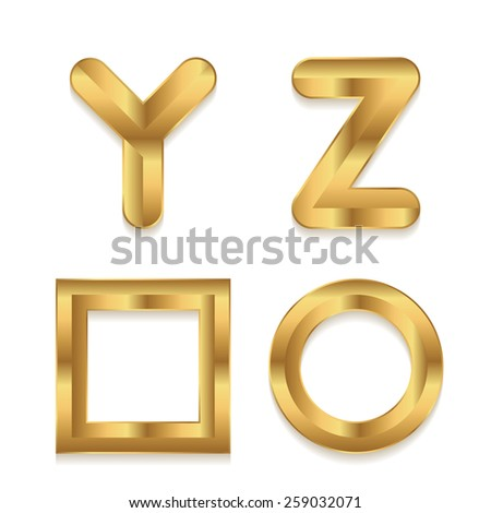 Golden alphabet. Set of metallic 3d letters. Letters Y Z. Square and circle frame. - stock photo