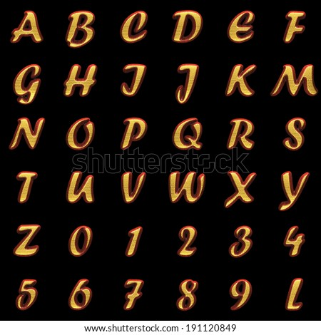 golden alphabet with red wood on black
