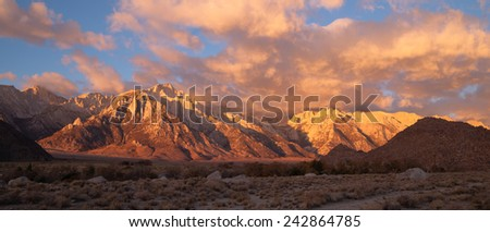 Golden Alpine Sunrise Alabama Hills Sierra Nevada Range California - stock photo
