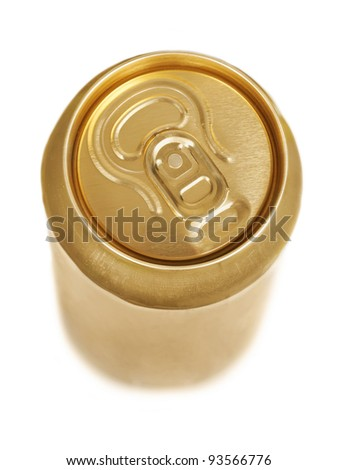 Golden aluminum drink can isolated over white background - stock photo