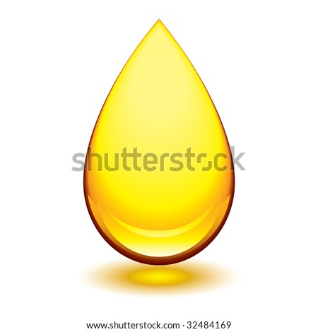 Golden amber icon with tear droplet shape and shadow glow - stock photo