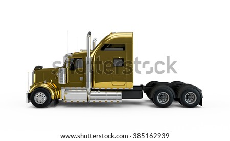 Golden american truck isolated on white background