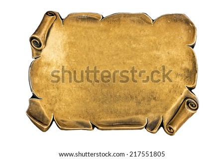 golden and antique blank plate isolated on white background - stock photo