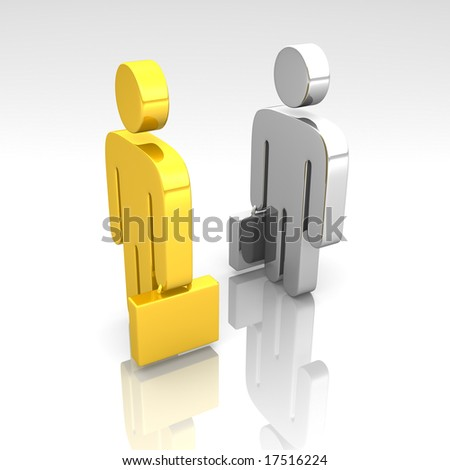 golden and chrome business pictograms meeting - stock photo