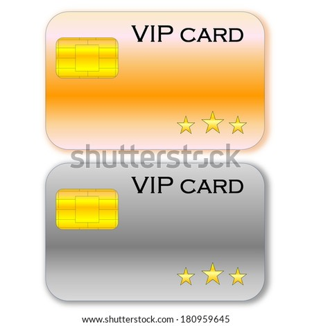 Golden and grey VIP card with chip in white background