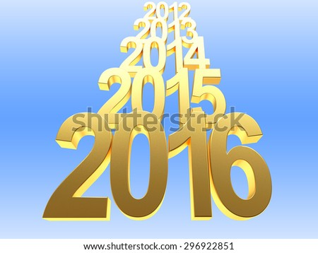 Golden 2016 and previous years on blue background - stock photo