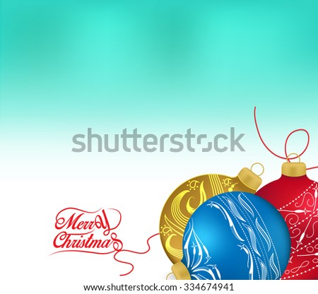 Golden and red christmas ornaments on white background with space for text. Merry christmas card. Winter holidays. Xmas theme - stock photo