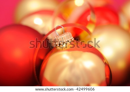 Golden and red shiny Christmas balls