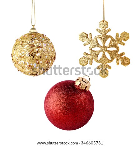 Golden and red xmas balls isolated on white background - stock photo