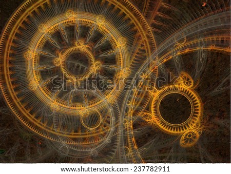 Golden and rusted fantasy steampunk design - stock photo
