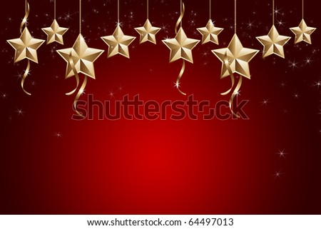 Golden and shiny stars on red background