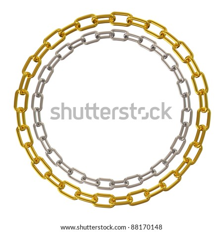 Golden and Silver Chains isolated on white background - stock photo