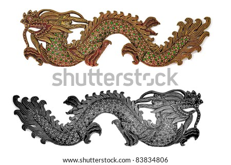 Golden and silver Dragons - stock photo