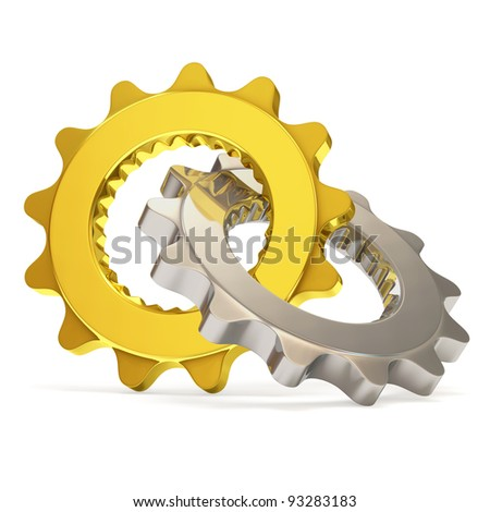 Golden and Silver Gears on white background - stock photo