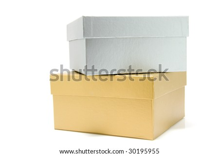 Golden and silver giftbox isolated on white background