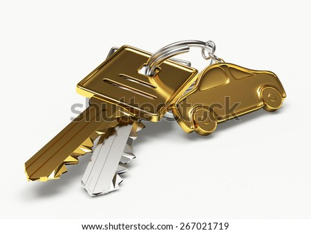 Golden and silver keys with car figure isolated on white background - stock photo