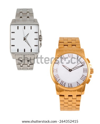 golden and silver modern wrist watch isolated - stock photo