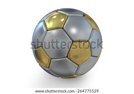 golden and silver soccer ball isolated on white background - stock photo