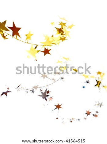 Golden and silver stars isolated on white background