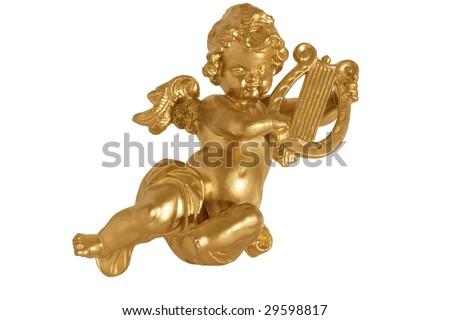 Golden angel playing harp isolated on white background - stock photo