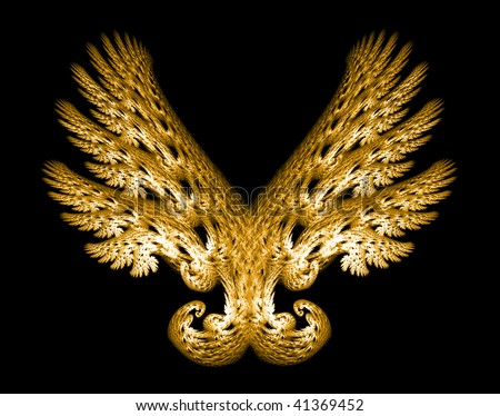 Golden Angel wings fractal emblem over black background. - stock photo